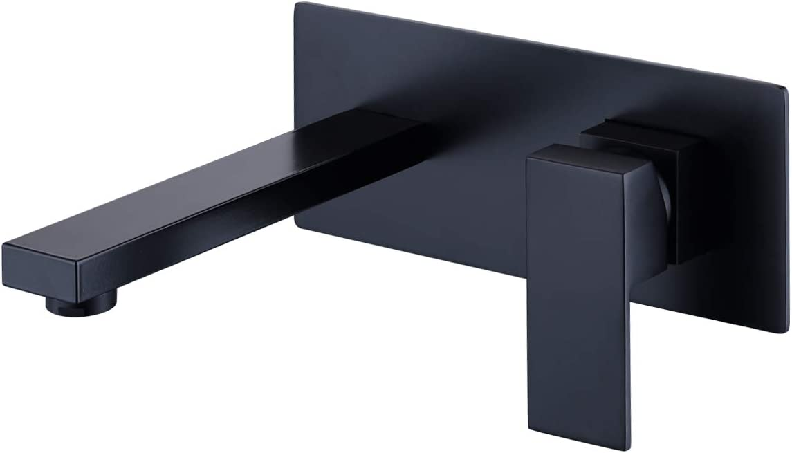 AIMASHA Wall Mount Bathroom Sink Faucet Matte Black -Single Handle Square Brass Basin Mixer Taps