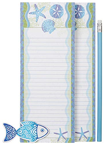 (2 Magnetic Notepads, 1 Pencil, 1 Magnet Tropical Fish and Seashell Design)