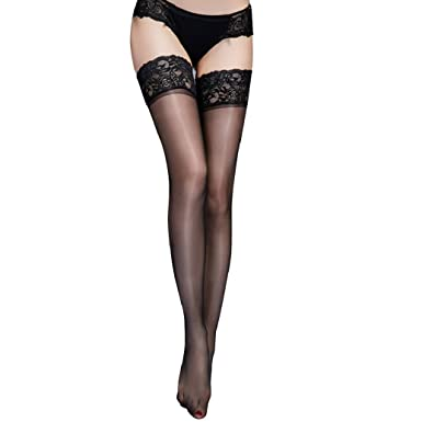 eb32d634c Women Sexy Lingerie Lace Thigh High Hold Ups Pantyhose Stocking - Black   Amazon.co.uk  Clothing