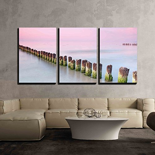 Wall26   3 Piece Canvas Wall Art   Calmness Beautiful Sunset At Baltic Sea   Modern Home Decor Stretched And Framed Ready To Hang   16 X24 X3 Panels