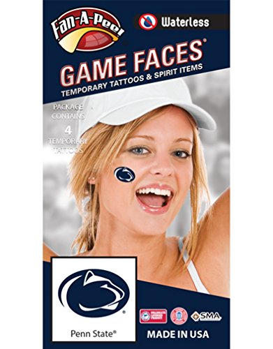 Penn State (PSU) Nittany Lions – Waterless Peel & Stick Temporary Spirit Tattoos – 4-Piece – Dark Royal Blue Lion Head Oval (Penn State Tattoos)