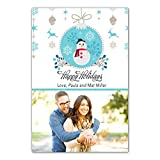 30 Christmas Family Photo Card Holiday Greeting Personalized Snowman Photo Paper