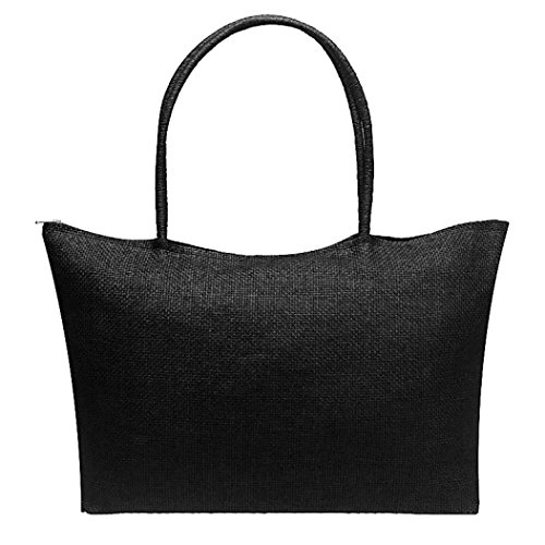 Women Simple Candy Color Straw Large Handbags Casual Shoulder Bag (Tote Black Straw Handbags)