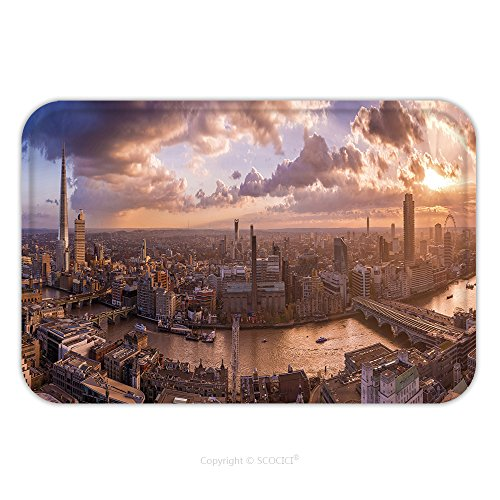 Flannel Microfiber Non-slip Rubber Backing Soft Absorbent Doormat Mat Rug Carpet Beautiful Sunset And Dramatic Clouds Over The South Side Of London Panoramic Skyline Of London Uk_97110704 for Indo