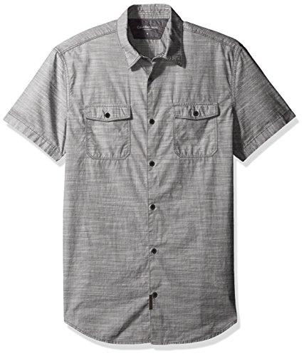 Calvin Klein Jeans Men's Cross Hatch Slub Short Sleeve Button Down Shirt, Blackened Pearl, Large Calvin Klein Pearl