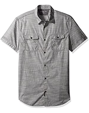 Calvin Klein Jeans Men's Short Sleeve Cross Hatch Slub Button Down Shirt