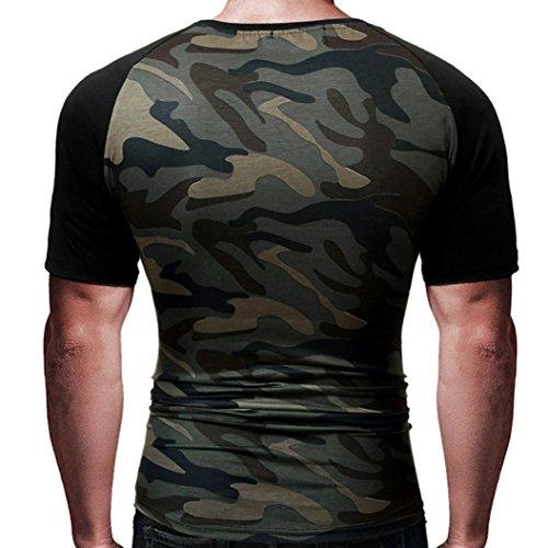manadlian T-Shirt Hommes, Hommes T-Shirt Minimaliste Militaire Chemise à Manches Courtes Camouflage O-Neck 2