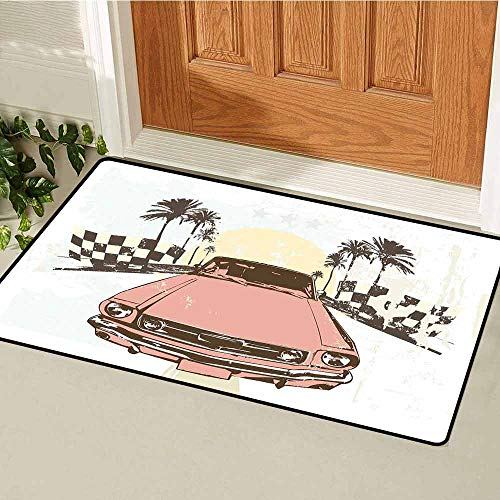 (GloriaJohnson Grunge Universal Door mat Old Fashioned Car Auto Sport Checkers Palms Sun Retro Road Racing Speed Door mat Floor Decoration W31.5 x L47.2 Inch Coral Mint Green Yellow)
