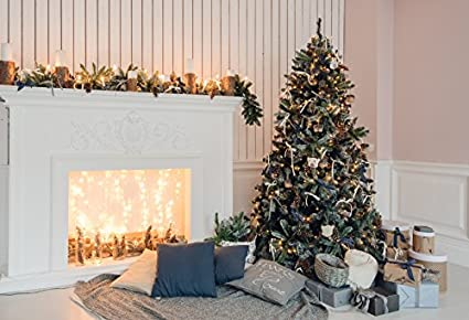 baocicco stripes wood wall white fireplace christmas tree backdrop 10x8ft vinyl photography backgroud pine cone shiny - Fireplace Christmas Decorations Amazon