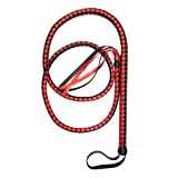 #9: 6 Foot 4 Plait Red-Black Bullwhip PU Leather BULL WHIPS