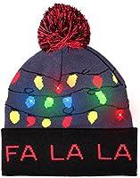 LED Light Up Ugly Sweater Holiday Xmas Christmas Beanies - 3 Flashing Modes