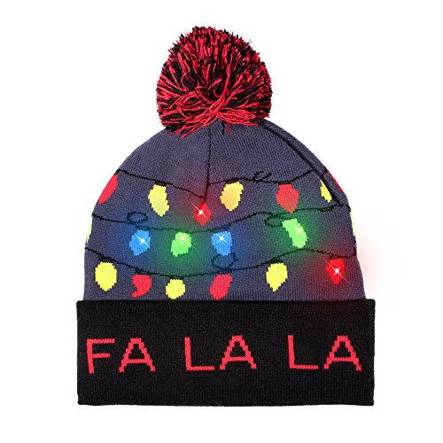 LED Light-up Knitted Ugly Sweater Holiday Xmas Christmas Beanie - 3 Flashing Modes (FA LA LA Beanie)