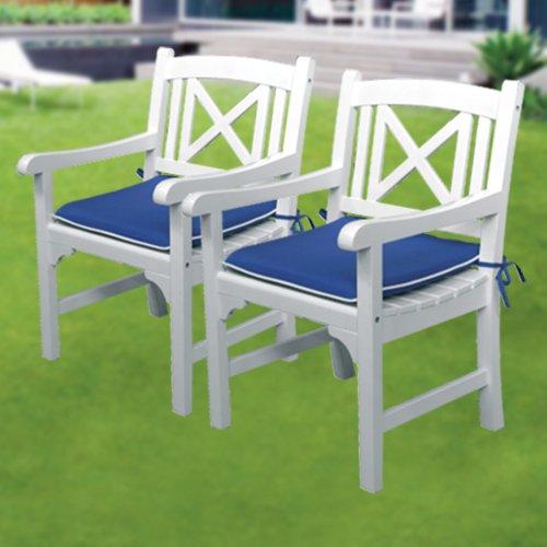 Sessel Paar Stuhl Alabama Holz lackiert und Kissen Gartenmöbel