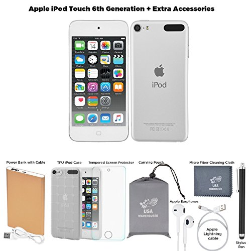 (Apple iPod Touch 6th Generation, 128GB - Silver + Extra Accessories Package July 2015)