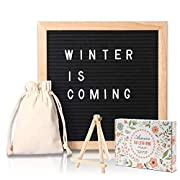 Changable Felt Letter Board with 580 Letters, Numbers & Symbols,10x10 Inches, Changeable Wooden Message Board Sign, Oak Wood Frame,Wall Mount, With Free Canvas Bag, By AIMIUR