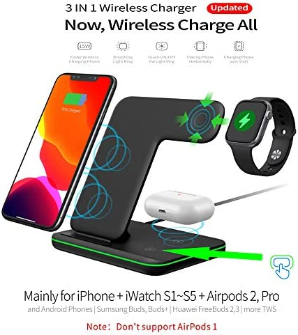 Any Warphone 3 in 1 Wireless Charging Stand for Latest Airpods iPhone and iWatch, Compatible for iPhone 11 Pro Max/X/XS Max/8 Apple Watch Charger 5/4/ 3/2 /1 Airpods 2/3 51GASgAjORL