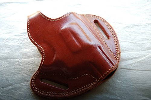 cal38 Handcrafted Leather Belt Holster for sw Model 10 Snub Nose 38 Special 2 inch (R.H) (TAN)