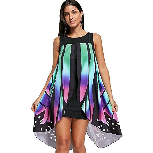 Sleeveless CharMma Summer Beach Women's Dress Butterfly Flowy Green Casual Shape rZZnt6qx