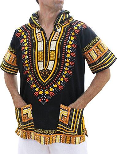 Full Funk Dashiki Light Hoody In Black Base Colors Festival Party Shirt Short Sleeve
