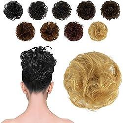 FESHFEN 100% Human Hair Scrunchies (613# Light Bleach Blonde) Curly Messy Hair Bun Extensions Wedding Hair Pieces for Women Kids Hair Updo Donut Chignons