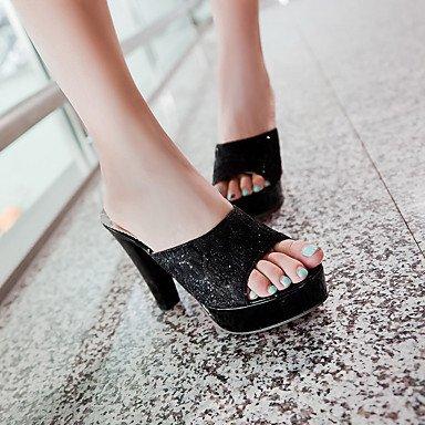 Sandalias femeninas sintéticas Slingback Primavera Verano Otoño Office & Carrera Vestidos & Noche Sequin Chunky talón Oro Negro Plata4A-4 Black