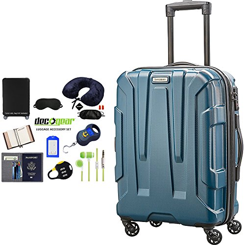 Samsonite Centric Hardside 20' Carry-On Luggage Teal (92794-2824) with Deco Gear Ultimate 10Pc Luggage Accessory Kit