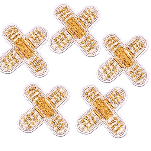 Harsgs Band Aid Patches, Embroidered Iron On/Sew On Patches, Cute Applique Patches for Clothing, Jackets, Hats, Backpacks, Jeans (Pack of 5)