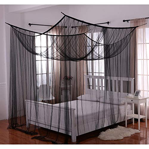 Canopy Four Poster (Epoch Hometex Palace Four-Poster Bed Canopy Black)
