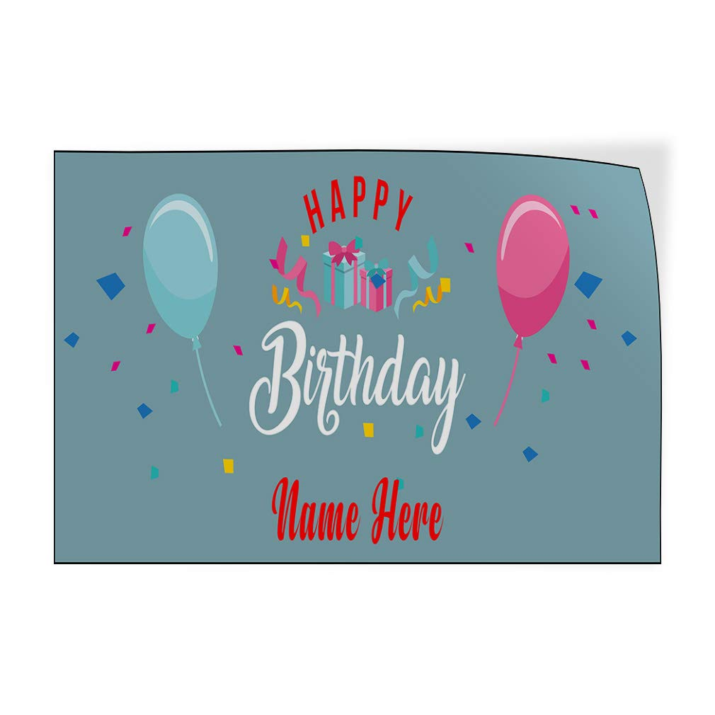 Custom Door Decals Vinyl Stickers Multiple Sizes Happy Birthday Name Here A Holidays and Occasions Happy Birthday Outdoor Luggage /& Bumper Stickers for Cars Light-Blue 30X20Inches Set of 10