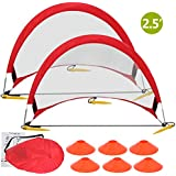 ZENY Portable Pop-Up Soccer Goals, Set of 2, With Cones and Case (2.5' Round Soccer goal)