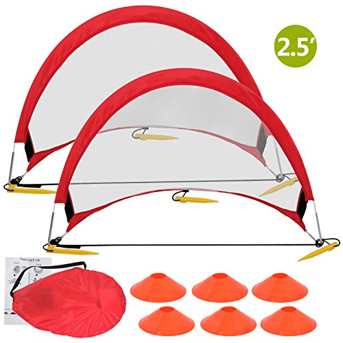 Cheap ZENY Portable Pop-Up Soccer Goals, Set of 2, With Cones and Case (2.5′ Round Soccer goal)