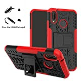 Huawei P20 Lite case,LiuShan Shockproof Heavy Duty Combo Hybrid Rugged Dual Layer Grip Cover with Kickstand For Huawei P20 Lite Smartphone (With 4in1 Packaged),Red
