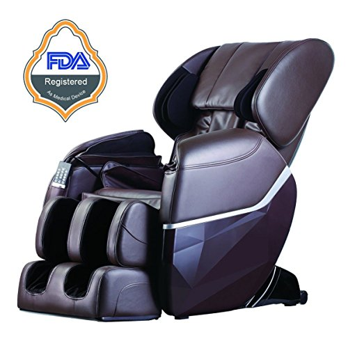 Massage Electric Shiatsu Chair Recliner Body Full Heat Foot Zero Gravity Stretched Lounge Deluxe Brown