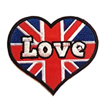 Iron on patches - heart I Love UK ENGLAND - red/white - 8x7.5cm - Application Embroided patch badges