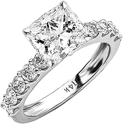 4 Carat 14K White Gold Classic Side Stone Prong Set GIA Certified Princess Cut Diamond Engagement Ring (3 Ct H Color VS2 Clarity Center Stone)