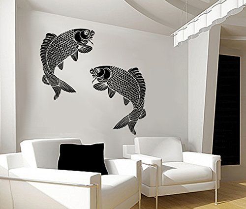 Fish Wall Stencil - Koi Fish - Large, Reusable DIY Wall Art Home Decor - Check out our many Sea Creature stencils and create an underwater scene! (Koi Stencil)