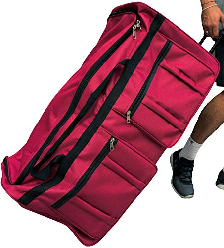 (Gothamite 36-inch Rolling Duffle Bag with Wheels | Luggage Bag | Hockey Bag | XL Duffle Bag With Rollers | Heavy Duty (Fuchsia))