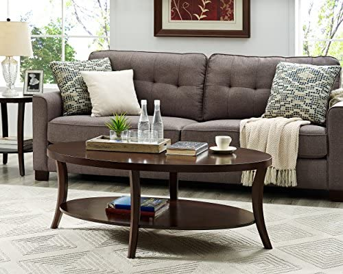 Roundhill Furniture Perth Contemporary Oval Coffee Table with Shelf, Espresso
