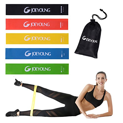 Exercise Resistance loop Bands for Work out Stretching Home Fitness Physical Therapy Pilates Yoga Gym Great for Women & Men, Set of 5