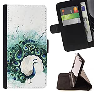 For HUAWEI P8 - Teal Peacock Feather Painting Bird /Leather Foilo Wallet Cover Case with Magnetic Closure/ - Super Marley Shop -