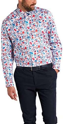Eterna Long Sleeve Shirt Comfort FIT Twill Printed Blue/Red