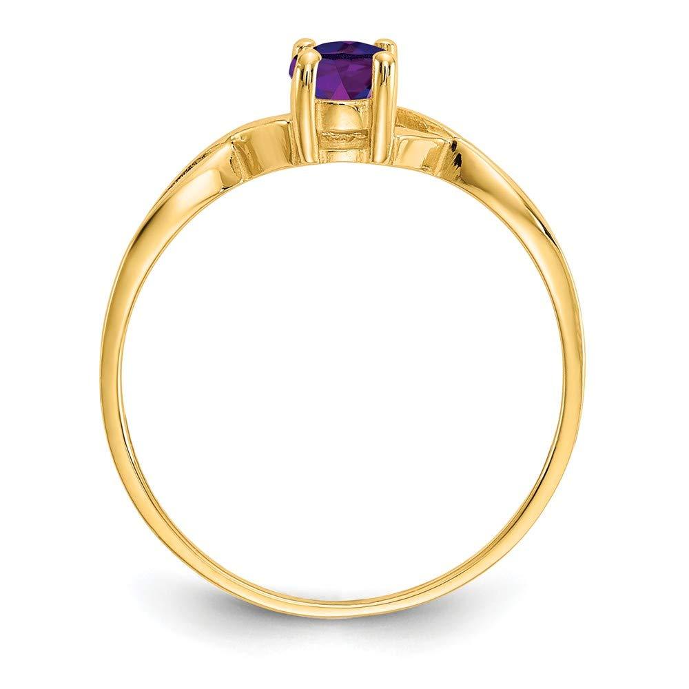 Amazon.com: Jewels By Lux 14K Amethyst Birthstone Ring, Gem ...