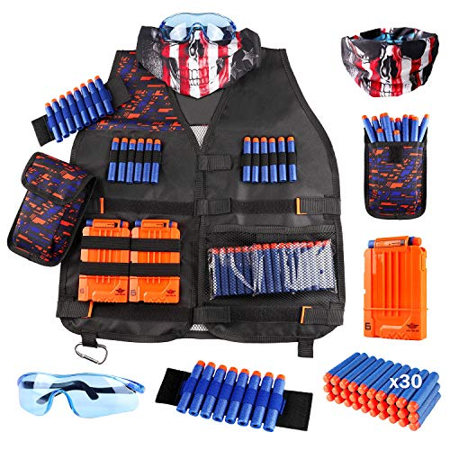 Black Semi Automatic Gun - UWANTME Kids Tactical Vest Kit for Nerf Guns N-Strike Elite Series with Refill Darts, Dart Pouch, Reload Clips, Tactical Mask, Wrist Band and Protective Glasses for Boys