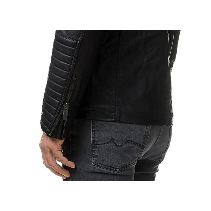 51GAWMy%2B%2BAL Elegante chaqueta de cuero sintética para Hombres de la marca Red Bridge Chaqueta fresca con área acanalada a lo largo de las mangas 100% Poliuretano; Forro: 100% Poliéster