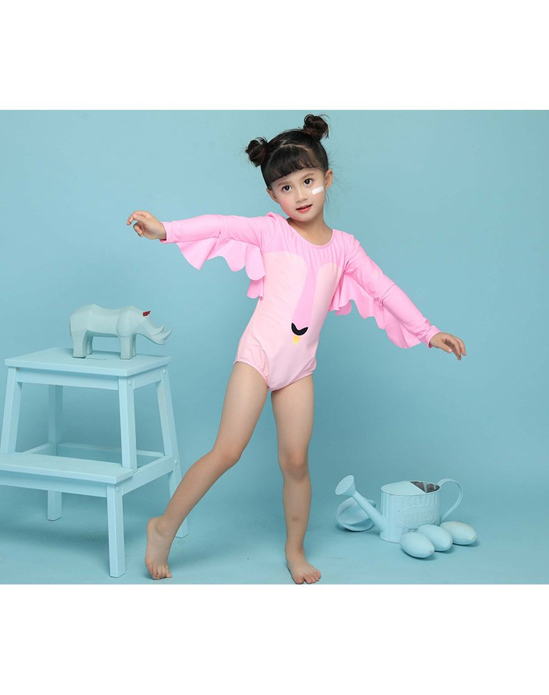Delight Girls Swimsuits Long Sleeve Baby Girls Swimwear One Piece Clothing Pink 3-4 Years by Delight (Image #5)