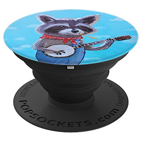 Country Bluegrass Raccoon with a Banjo - PopSockets Grip and Stand for Phones and Tablets