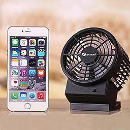 USB Mini Fan,BAVIER Sound-free design Desktop Fan,Portable USB Fan,2 Speed Adjustable,USB Cooling Fan,Cooler Fan (B1 Black)