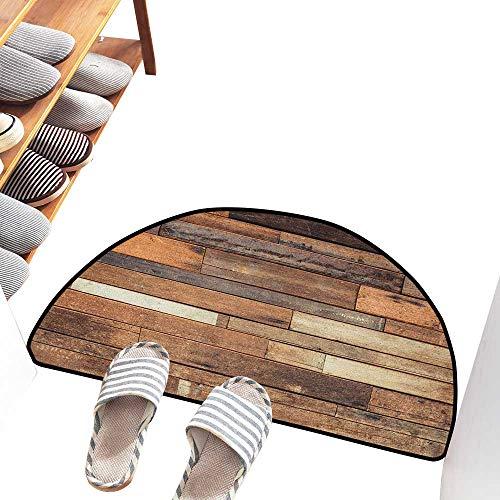 (Axbkl Front Door Mat Large Outdoor Indoor Wooden Rustic Floor Planks Print Grungy Look Farm House Country Style Walnut Oak Grain Image Anti-Fading W30 xL18 Brown)