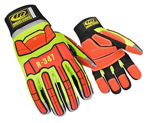 Ringers Gloves R-347 Rescue Glove, Protection in High Intensity Jobs - First Responders, Rescue, Extrication, Hi-Vis, XXX-Large (International Ringer)
