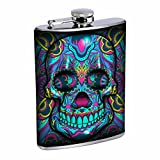 8oz Liquor Flask with blue sugar skull Stainless Steel Drinking Flask with Personality Designer Flask Gift for Women and Men